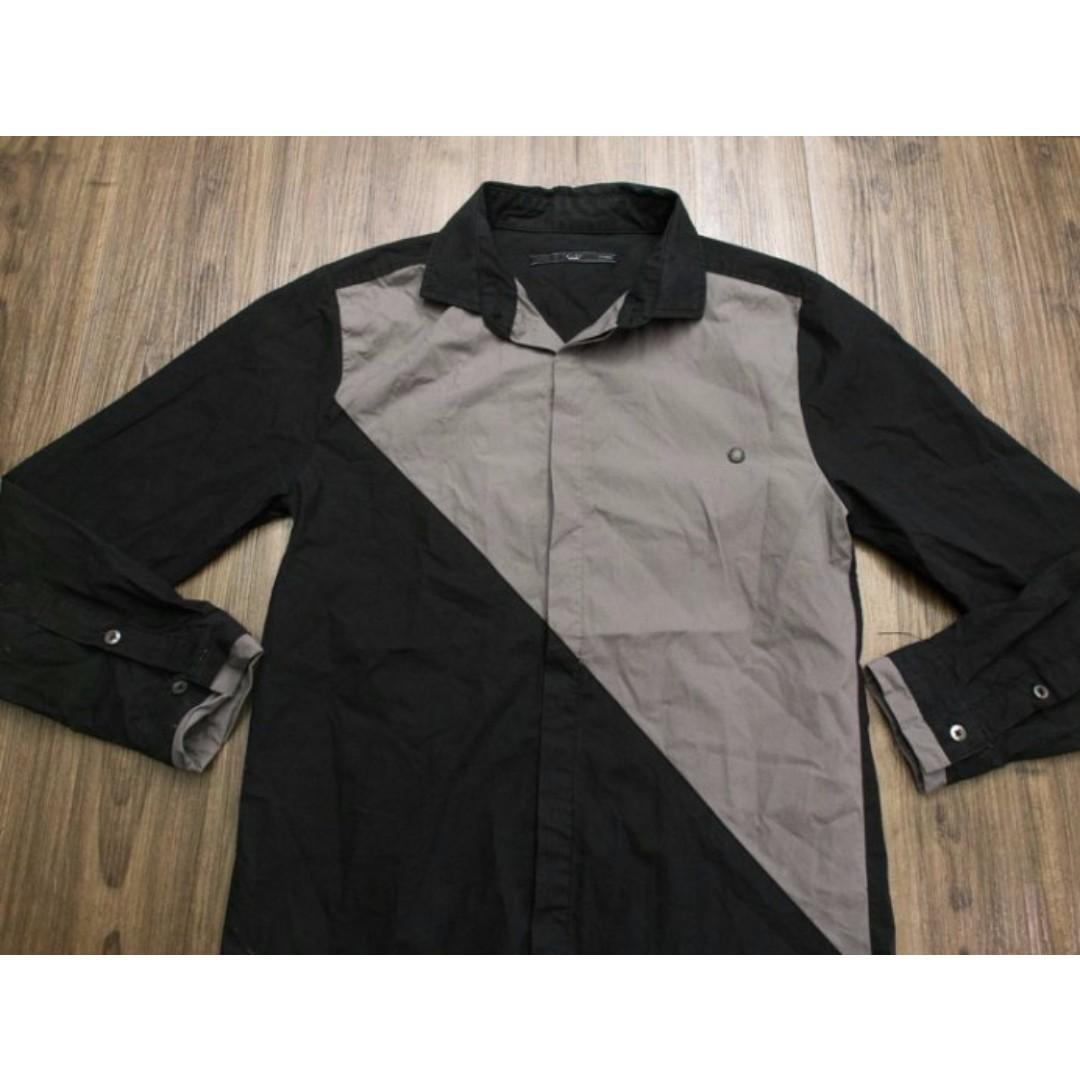 +-×÷ HOMME 黑/灰 拼接 長袖襯衫