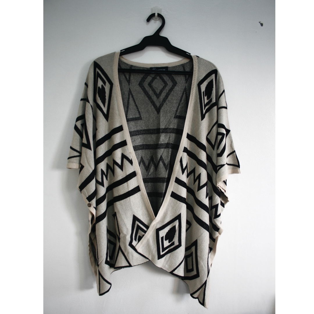 Aztec Print Poncho (can convert to a shawl)