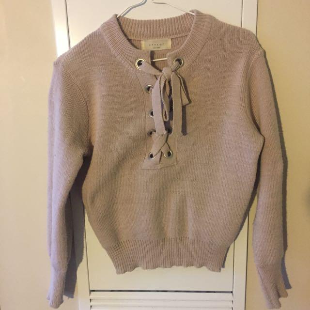 Baby Pink Ribbon Sweater