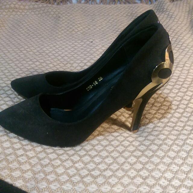 Black Gold Detailed Heels