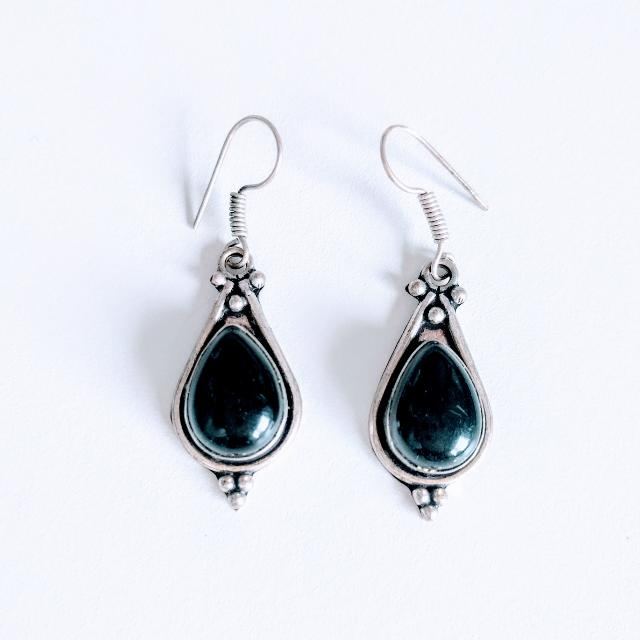 💰 Black Onyx Silver Plated Earrings
