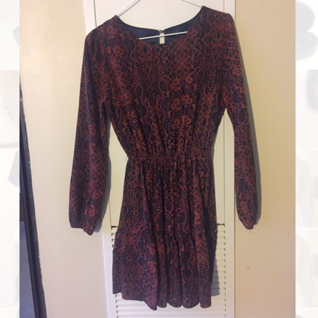 Burgundy Pattern Dress