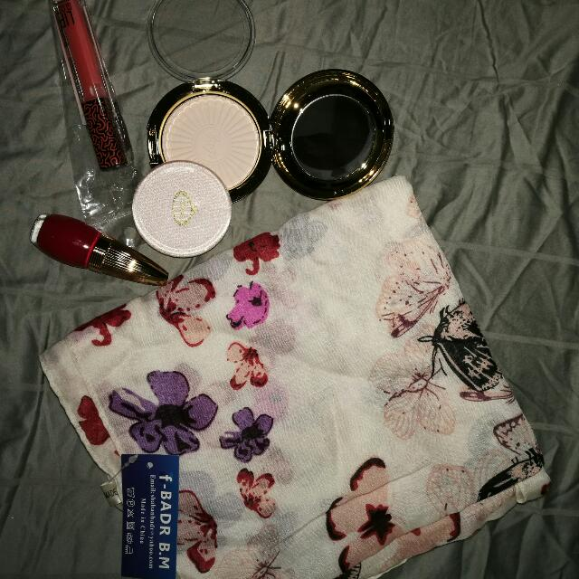 Cage Pressed Powder ,Cage Red Nail Polish And Butterfly Printed Scarf With H&M Lip Gloss
