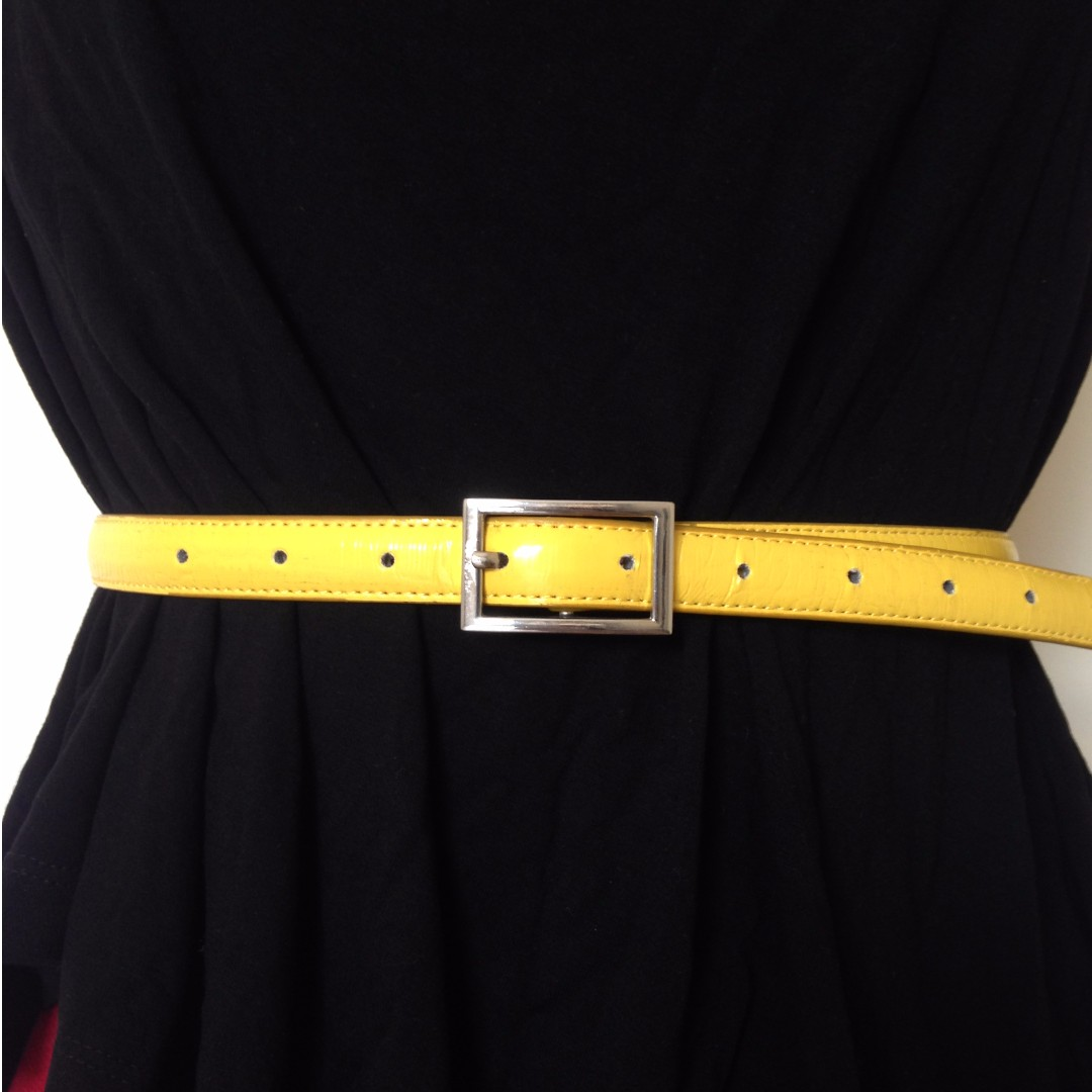 Canary Yellow Leather Belt