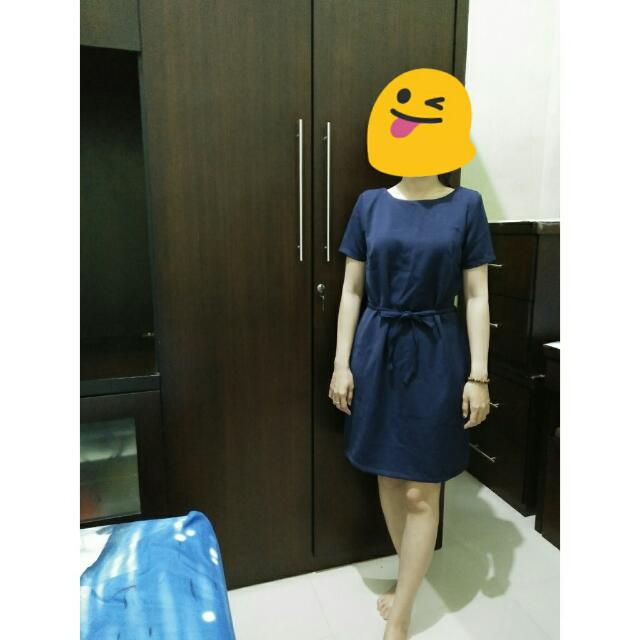 Casual Dress Color : Navy With Ribbon