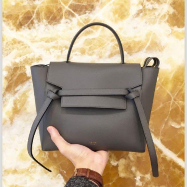 ab48429727 Celine Grey Grained Calfskin Micro Belt Bag