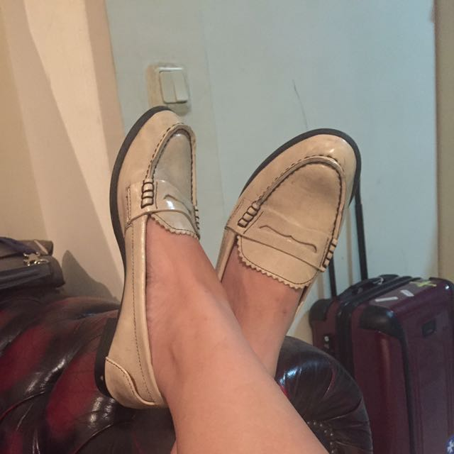 Charles And Keith beige Loafers