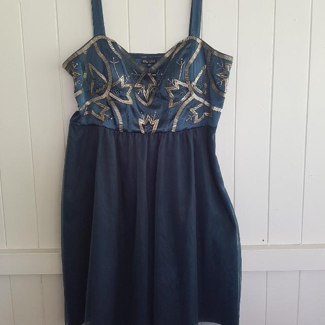 City Chic Beaded Tulle Dress Size M