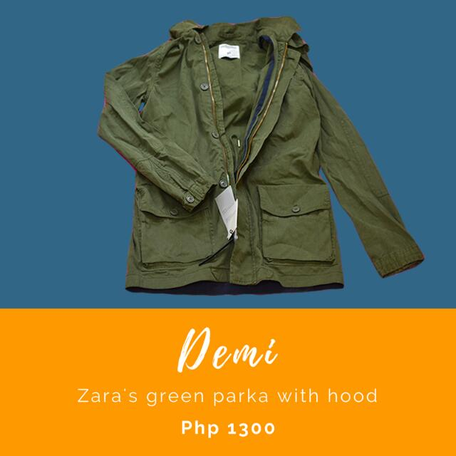 Demi: Zara's green parka with hood