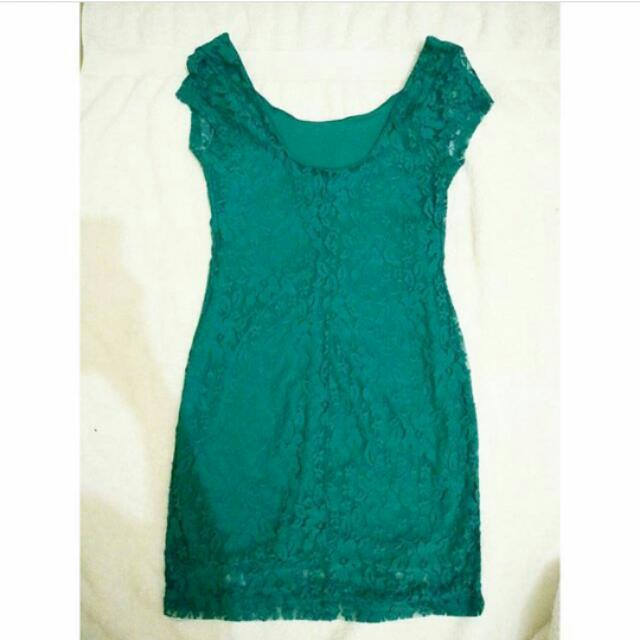 Dress Ijo Bahan Brukat Size S