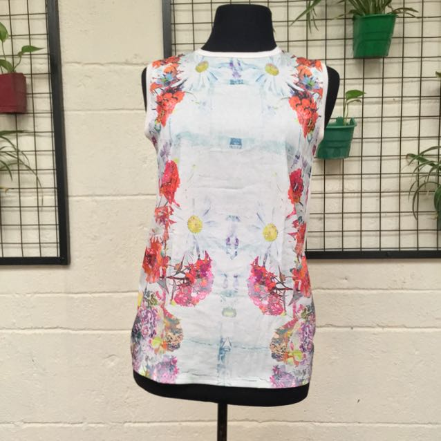 F21 White Floral Sleeveless