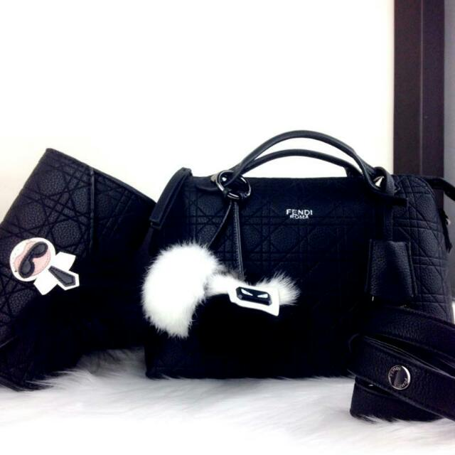 FENDI BY THE WAY BOSTON LUXURY EMBOSSED MEDIUM WITH KARLITO CLUTCH