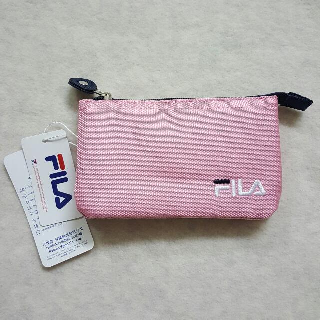 全新 FILA多功能粉紅素面小包 收納包 化妝包