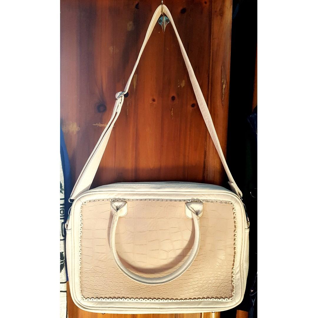Forever New Briefcase - Cream & Blush