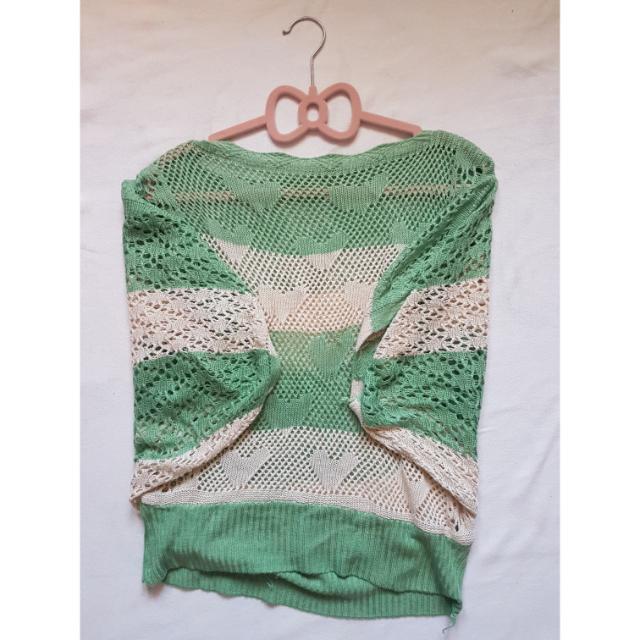 Green-Cream Knit Top
