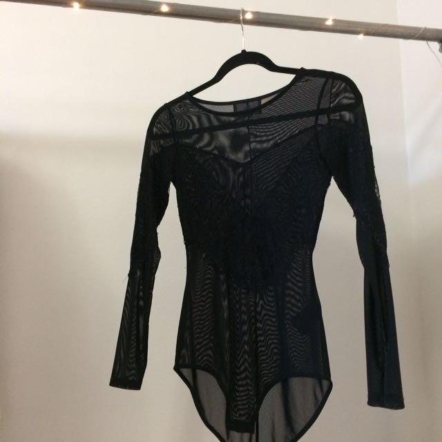 H&M Lace Mesh Body Suit