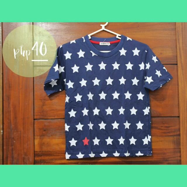 JusTees Blue Shirt With White Stars For Boys