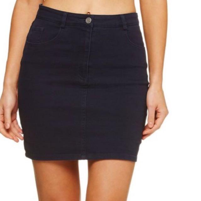 Kookai Dark Navy Denim Skirt 34 (6)