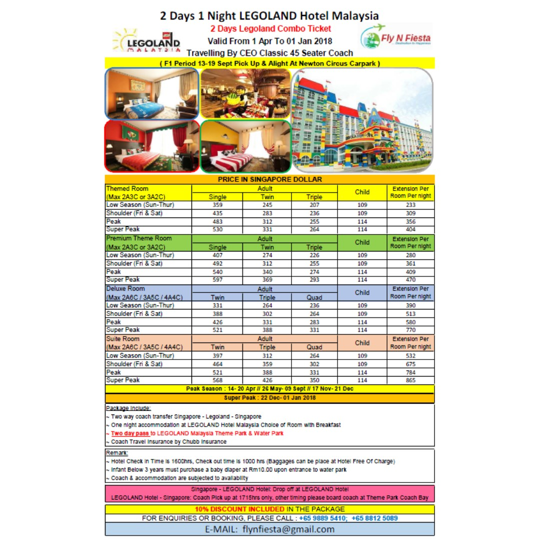 Legoland Theme Park Waterpark 2 Day Combo Ticket 1 Night Tiket Johor Bahru Malaysia Dan Water Stay At Hotel Entertainment Attractions On Carousell