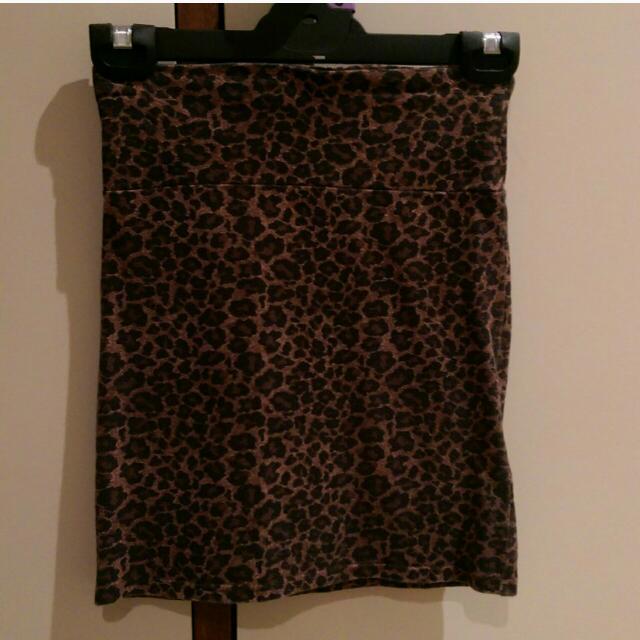 Leopard Print Mini Skirt Stretchy