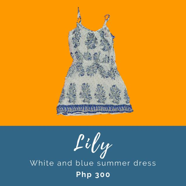 Lily: White and blue summer dress