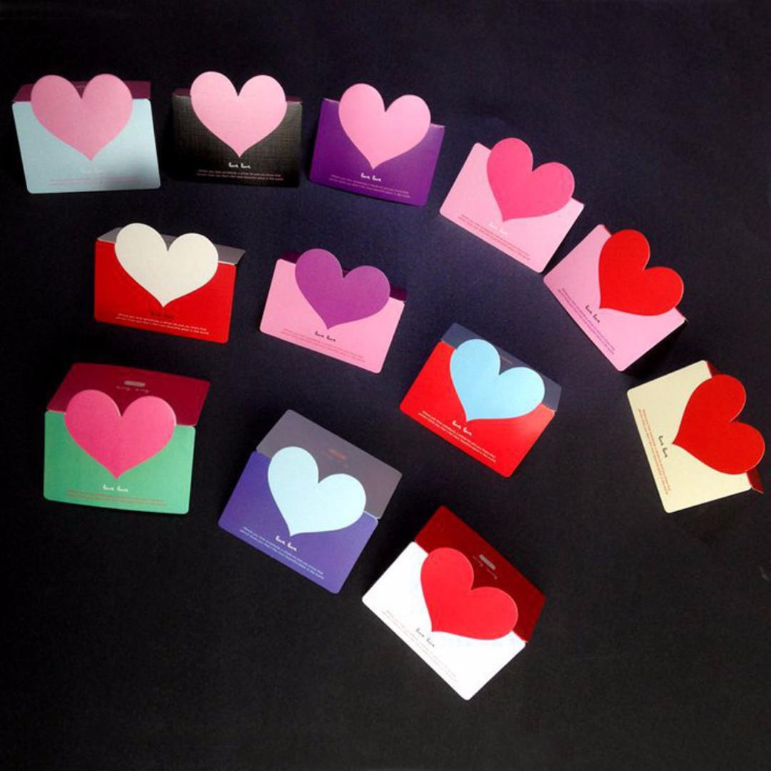 LOVE HEART VALENTINE'S CARD LOVERS CARDS WITH ENVELOPES / KARTU UCAPAN