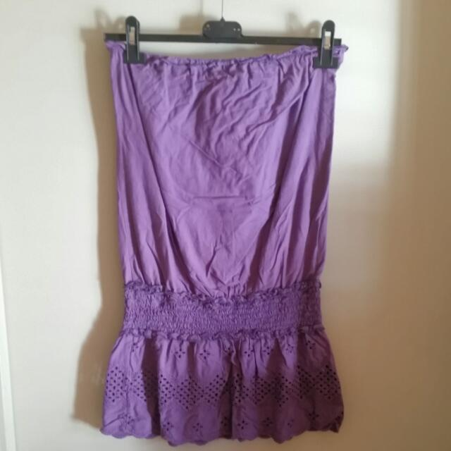 Lovley Girl Purple Strapless Embroidery top/dress Size 10