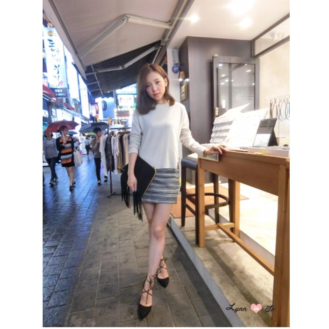 Lynn in jp黑白條紋顯瘦窄裙