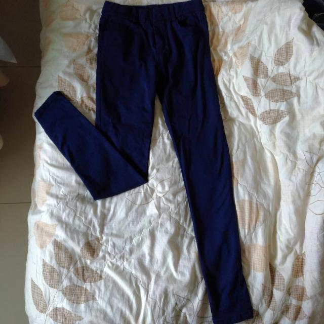 [免運]深藍彈性色褲M號,內刷毛