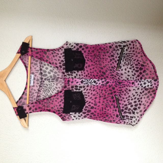 'Madison square' Leopard Top - Size S
