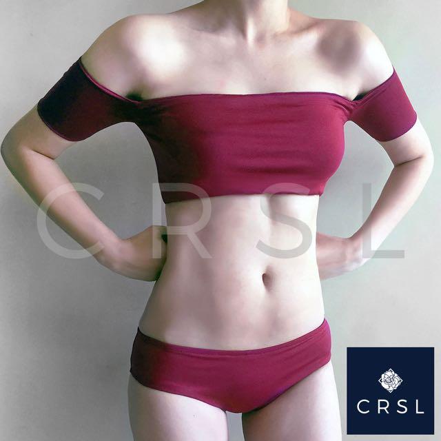 Dark Fuchsia Off Shoulder Bikini