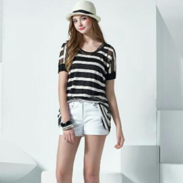 全新Miss''O''專櫃品牌  黑白條紋上衣