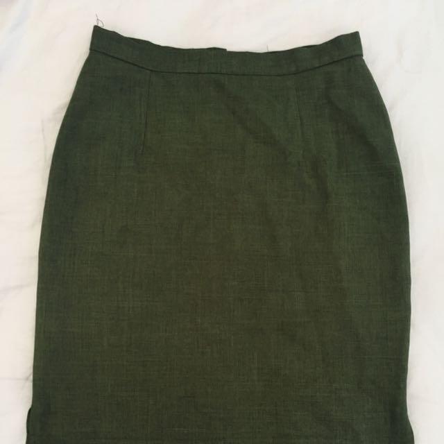 Moss Green Office Skirt