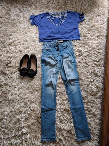 Navy blue crop and Denim skinny Jeans