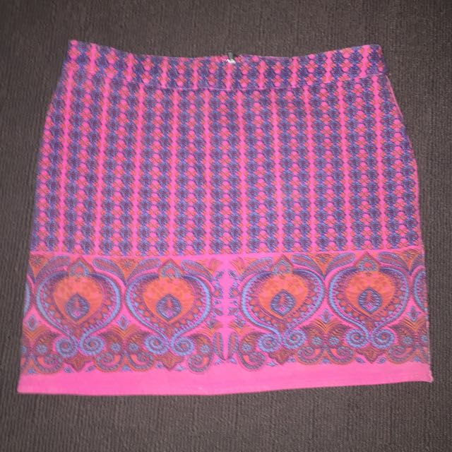 Paint It Red Mini Pink Pattern Skirt Hippy