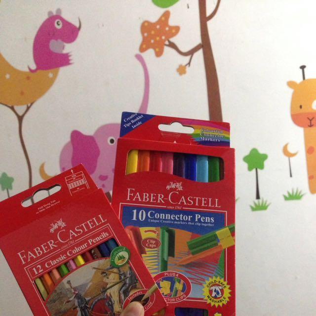 PAKET HEMAT Connector Pens + Colour Pencils Faber Castel