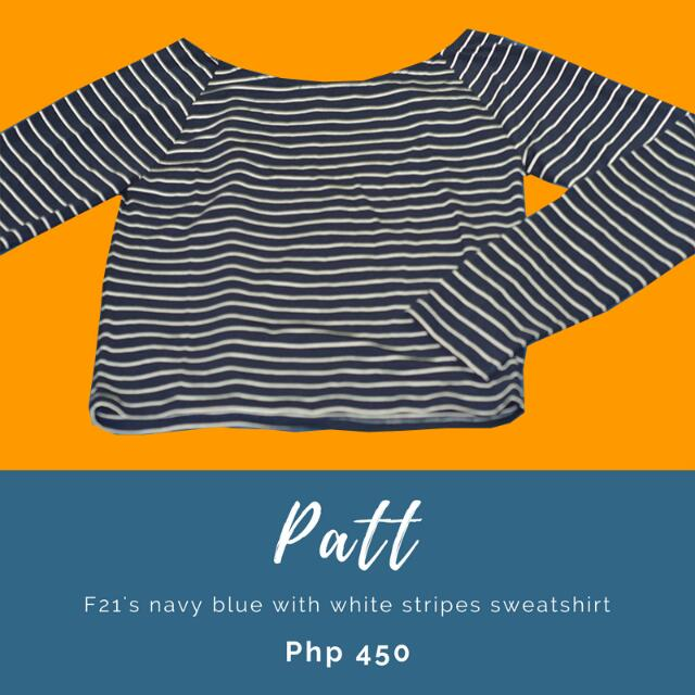 Patt: F21's navy blue with white stripes sweatshirt