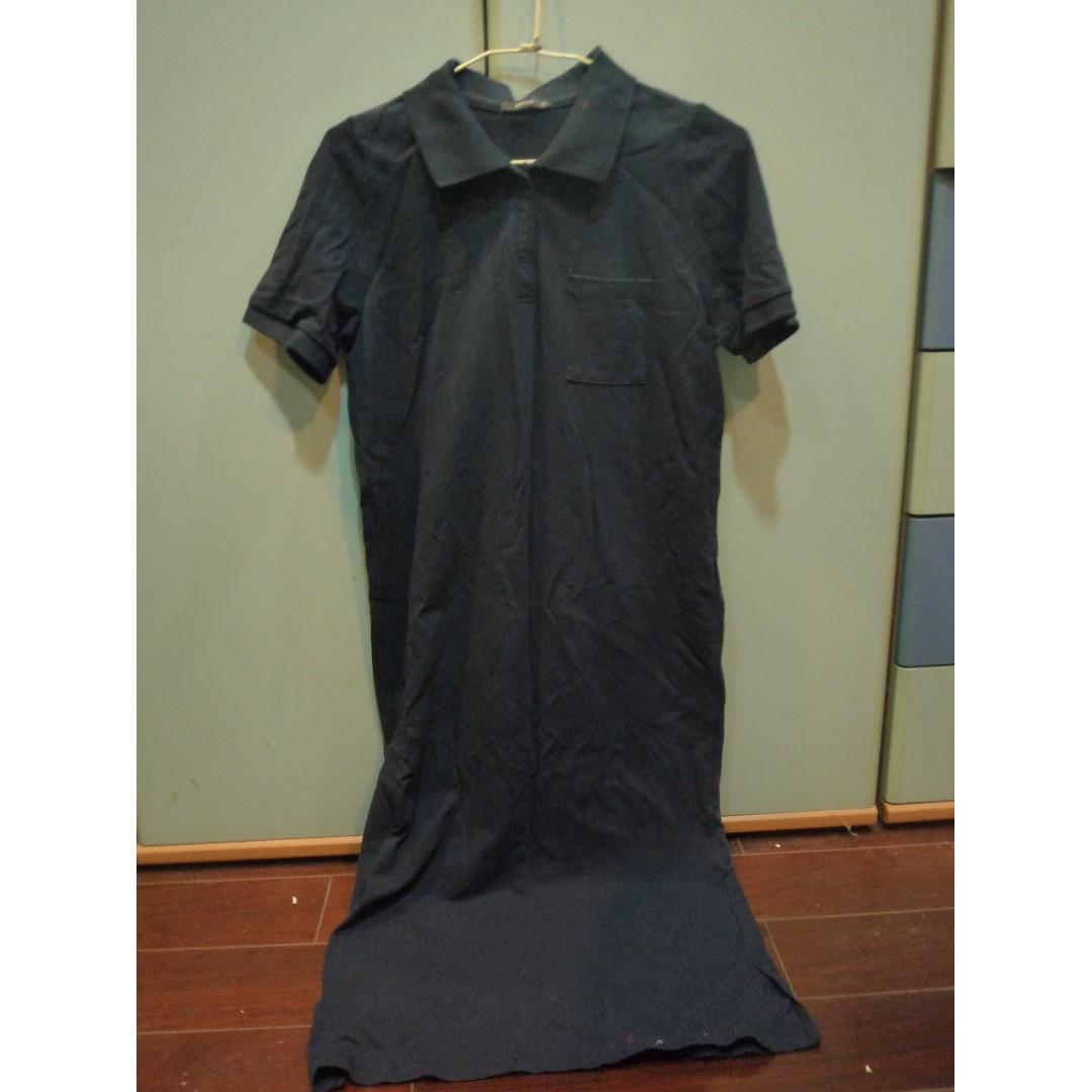 (歡迎換物)PAZZO深藍色長版短袖
