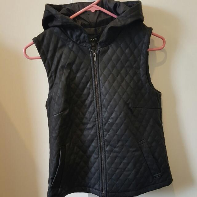 Pleather Hooded Vest