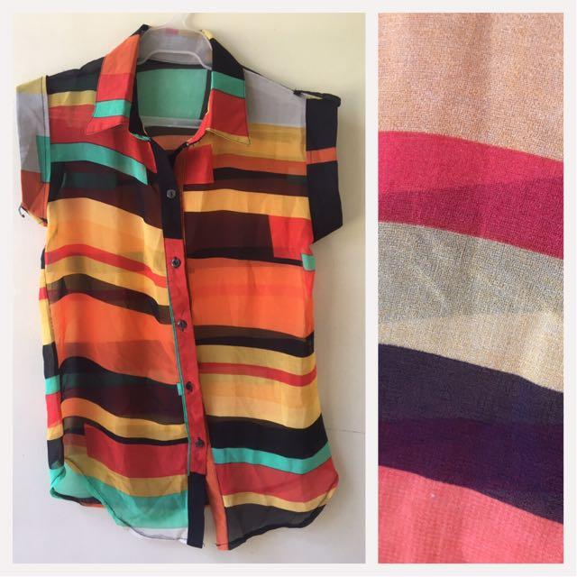 Polo Sleeveless Multicolor Blouse
