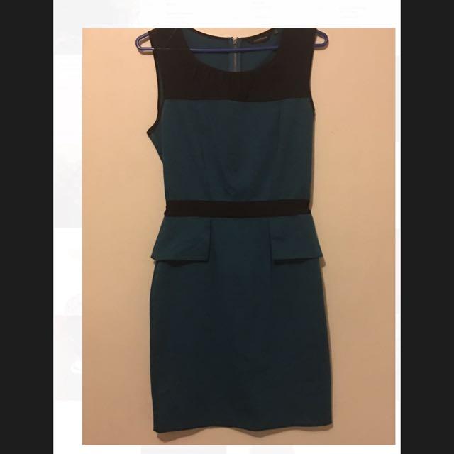 Portmans Dark Green Peplum Style Dress