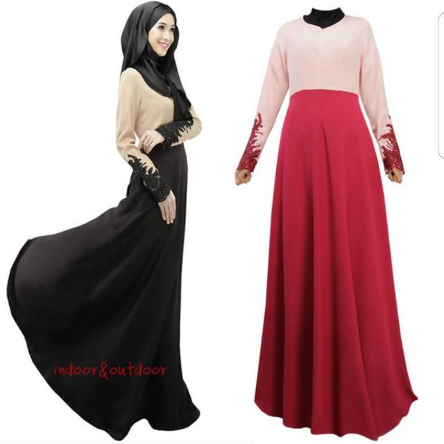 d61154ddbb87 Preorder Lace Cuff Kaftan Abaya Muslim Islamic Long Sleeve Maxi Dress Arab  Clothes, Women's Fashion, Muslimah Fashion on Carousell
