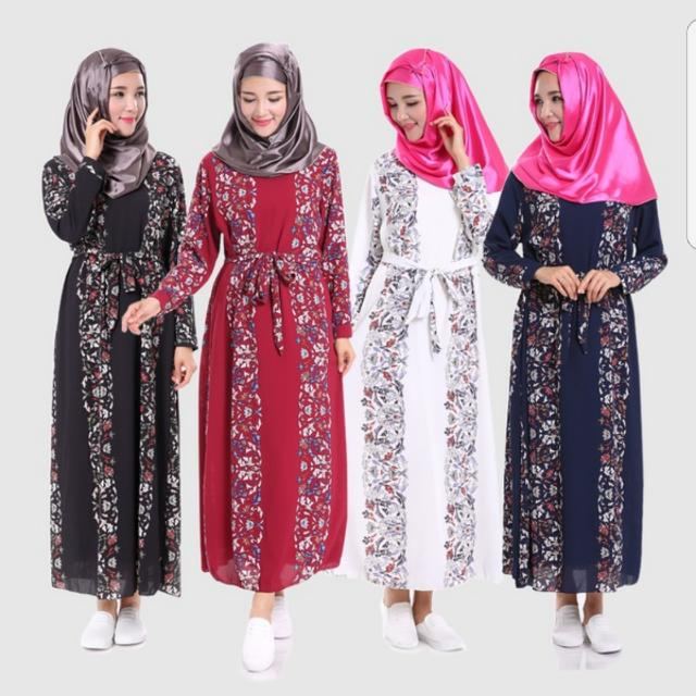 bcb4fc4e96d9d Preorder Women s Fashion Floral Belted Long Sleeve Maxi Dress Muslim ...