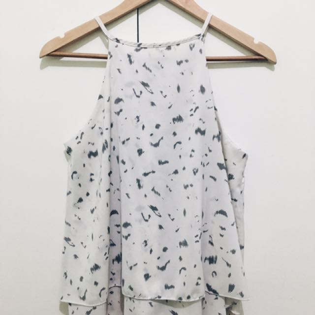 Printed Halter Top (Off White + Gray)