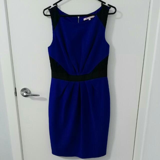 Review Size 10 Cobalt Blue And Black Lace Dress
