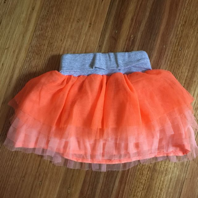 Seed Girls Orange Tutu Skirt (size 1-2)