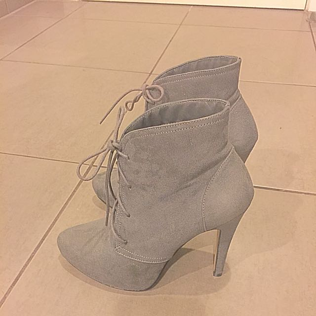 Suede Grey Heeled Boots