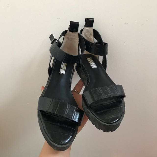Tony Bianco black leather sandals