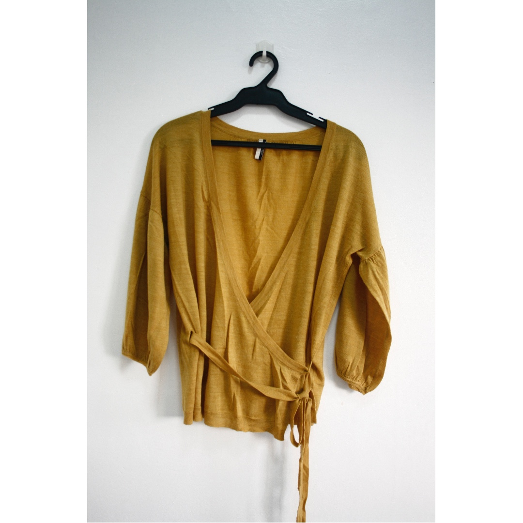 TOPSHOP Cross-over Knitted Cardigan (Mustard & Grey-Black)