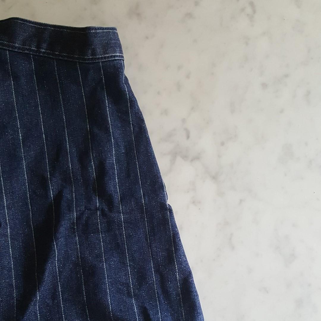 TOPTEN Dark Denim Blue Stripes Flare Skirt